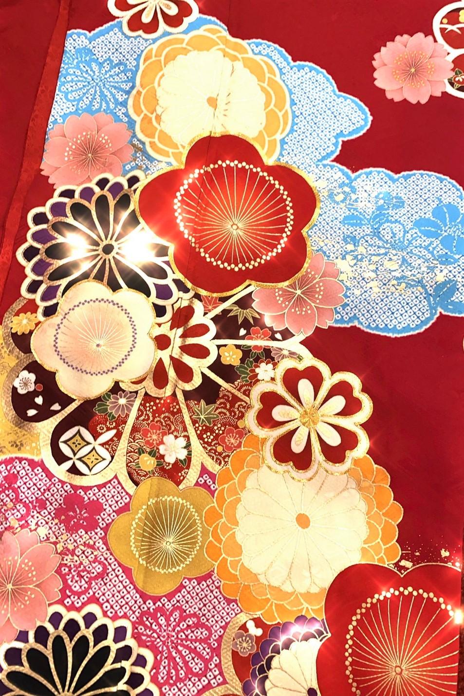 【成人式人気振袖/レンタルフルセット/通販可】個性的レトロポップ古典(オシャレかわいい) 赤/黒/ブルー(水色) 32089