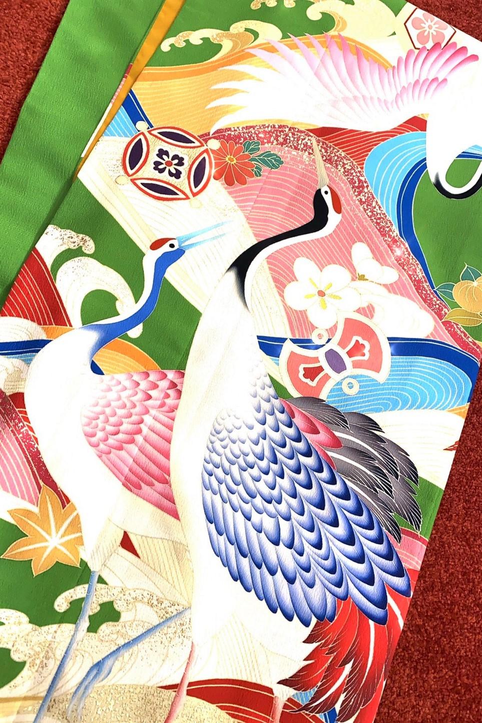 個性的おしゃれレトロ古典(派手可愛い鶴柄) 赤/グリーン(黄緑) #F0039