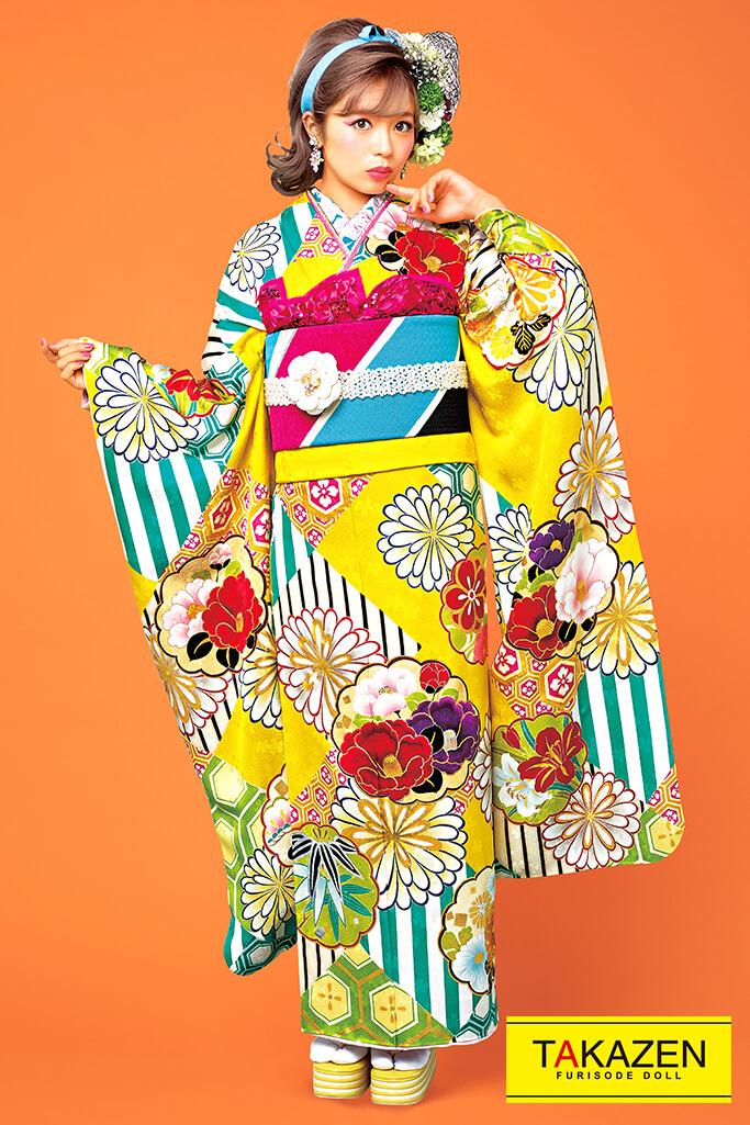 【成人式人気振袖/レンタルフルセット/通販可】個性的おしゃれポップレトロ古典(派手Barbie振袖♡) 黄/赤/ブルー(水色) 21002