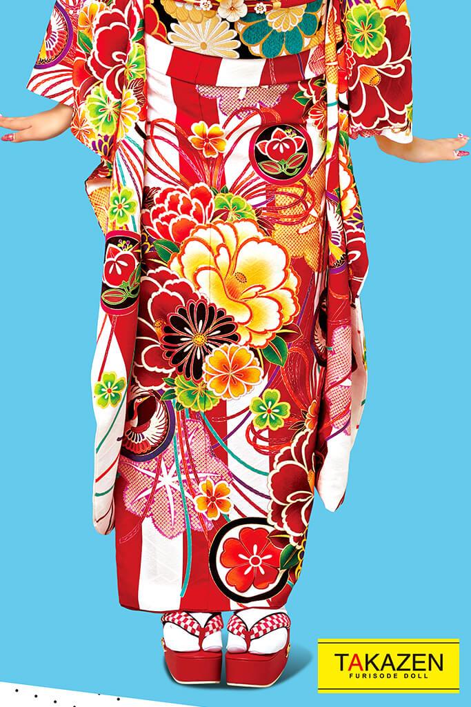 【成人式人気着物/レンタルフルセット/通販可】個性的かわいいレトロ古典(華やかストライプ) 赤/白/黄 2021新作☆21010