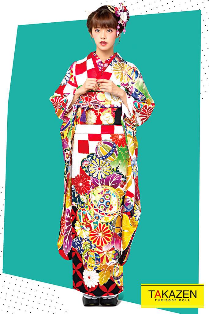 【成人式人気着物/レンタルフルセット/通販可】個性的古風レトロ古典(おしとやか毬柄) 赤/白/黒 21013
