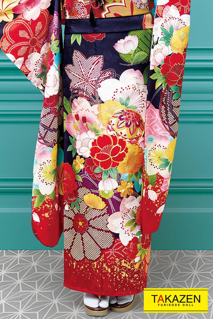 個性的レトロポップ古典(おしゃれな花柄) ピンク/ブルー(水色) 21015