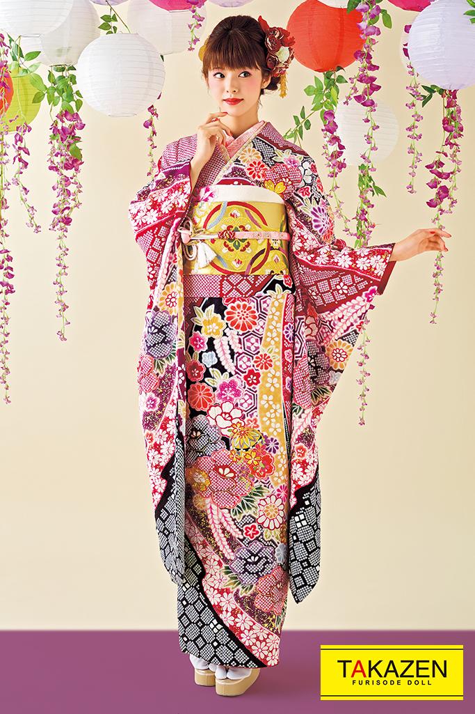 【成人式人気振袖/レンタルフルセット/通販可】上品かわいい古典(高級絞り) 白/赤/黒/ピンク 2021年新作☆21020