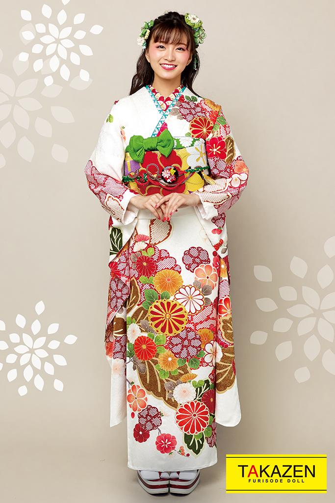 【成人式人気着物/レンタルフルセット/通販可】上品シンプル古典(かわいいポップな花柄) 白/赤/クリーム 2021年新作☆21026