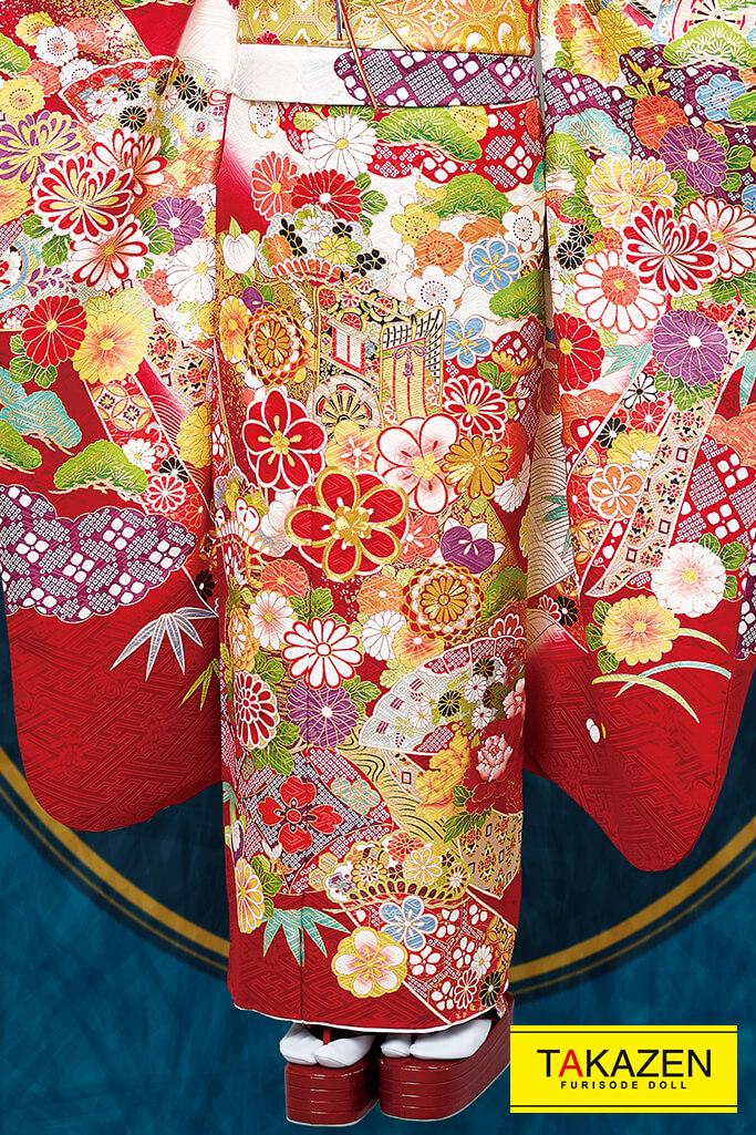【成人式人気振袖/レンタルフルセット/通販可】上品最高級古典(桂由美プレミアム) 赤/クリーム/ゴールド(金色) 2021年新作☆21033