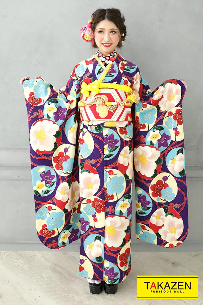 【成人式人気着物/レンタルフルセット/通販可】人気個性的レトロモダン(スタッフコーデ♡) 紫/赤/ブルー(水色) 21042