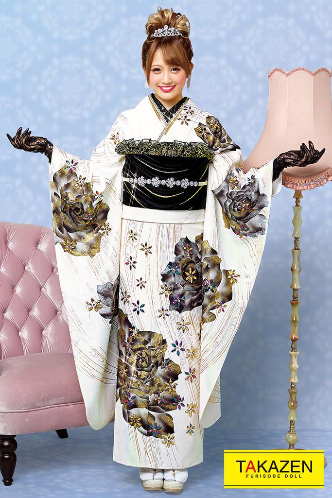 【成人式人気振袖/レンタルフルセット/通販可】最高級おしゃれプレミアムヘップバーン(キラキラ目立つビジュー) 白/グレー 21043