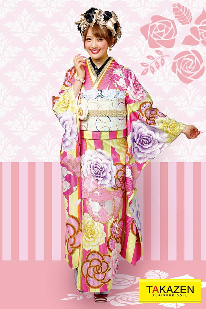 【 成人式人気振袖/レンタルフルセット/通販可】おしゃれヘップバーン(派手可愛いストライプ柄) ピンク/黄色 21044