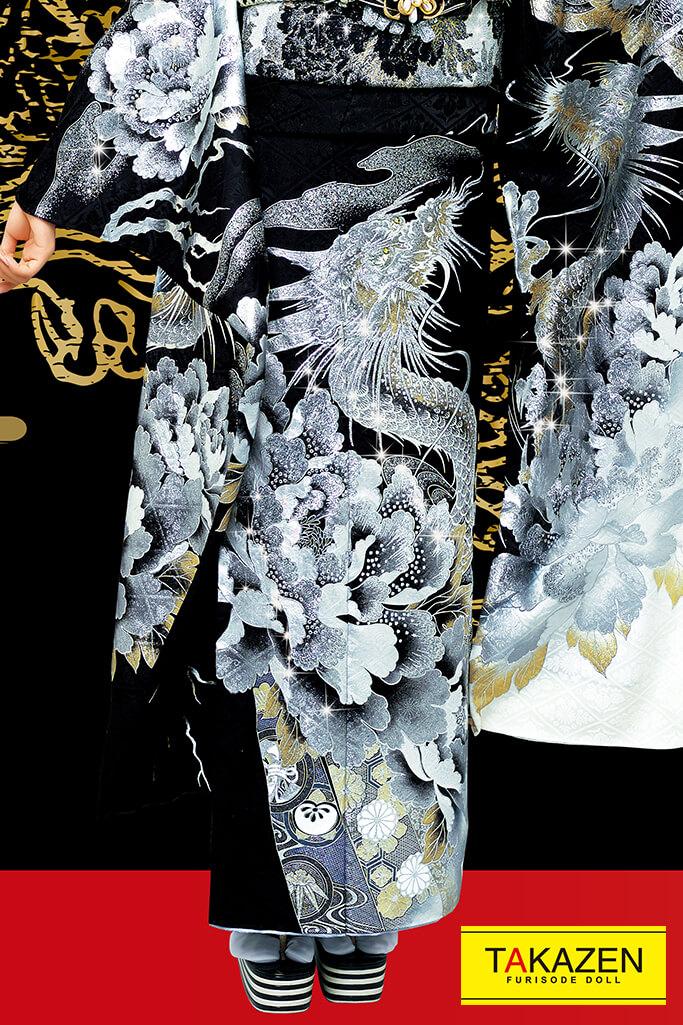 【成人式人気振袖/レンタルフルセット/通販可】一番目立つ花魁風ジャパンモード(派手渋い龍柄) 黒/シルバー(銀色) 2021年新作☆21045