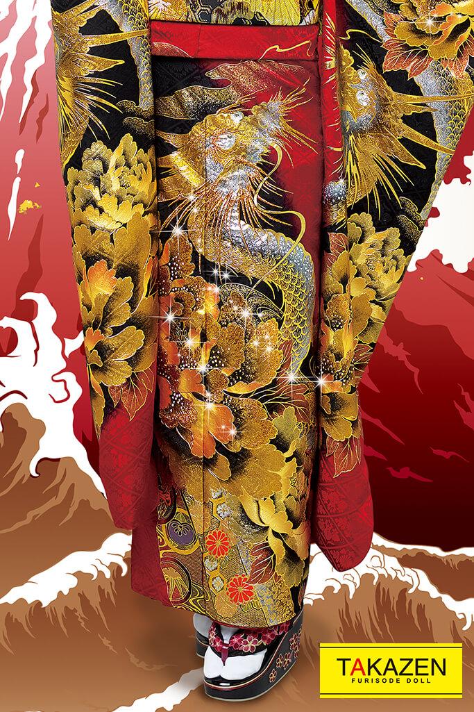 【成人式人気振袖/レンタルフルセット/通販可】渋い龍柄ジャパンモード花魁風(1番目立つかっこいい系) 赤/黒/ゴールド(金色) 2021年新作☆21046