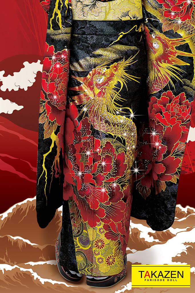 【成人式人気着物/レンタルフルセット/通販可】渋いジャパンモード花魁風(人と被らない龍柄) 黒/赤/ゴールド(金色) 2021年新作☆21047