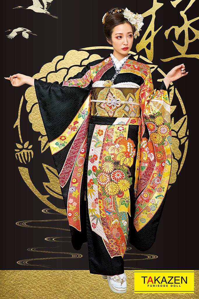【成人式人気着物/レンタルフルセット/通販可】渋い高級ジャパンモード(派手豪華熨斗柄) 黒/ゴールド(金色) 2021年新作☆21048