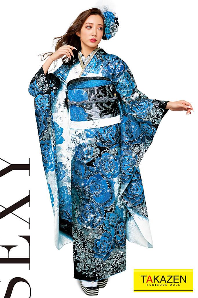 【成人式人気着物/レンタルフルセット/通販可】高級派手目立つ豪華(スワロフスキー付き) 白/黒/ブルー(青色) 2021年新作☆21051