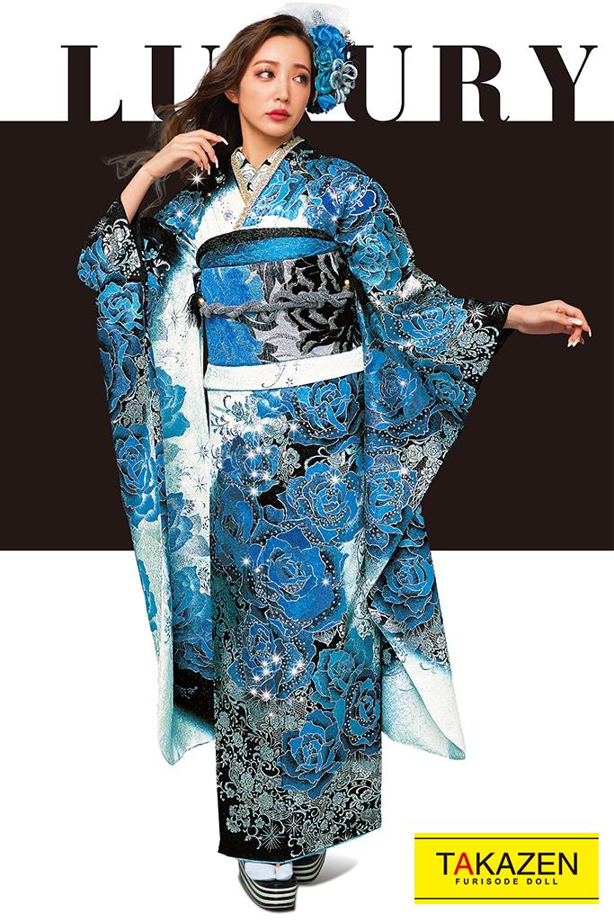 【成人式人気着物/レンタルフルセット/通販可】高級派手目立つクール系(豪華スワロフスキー付き) 白/黒/ブルー(青色) 21051