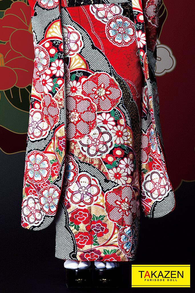 【成人式人気着物/レンタルフルセット/通販可】花魁風渋いかっこいい古典柄(クール絞り風派手豪華) 赤/黒 #F0104