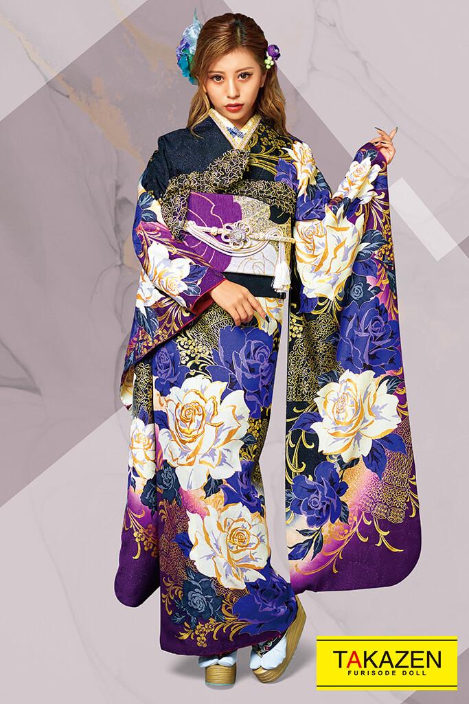 【成人式人気着物/レンタルフルセット/通販可】MURUA派手かっこいいクール系(目立つオシャレ薔薇柄) 紫/黒 31152