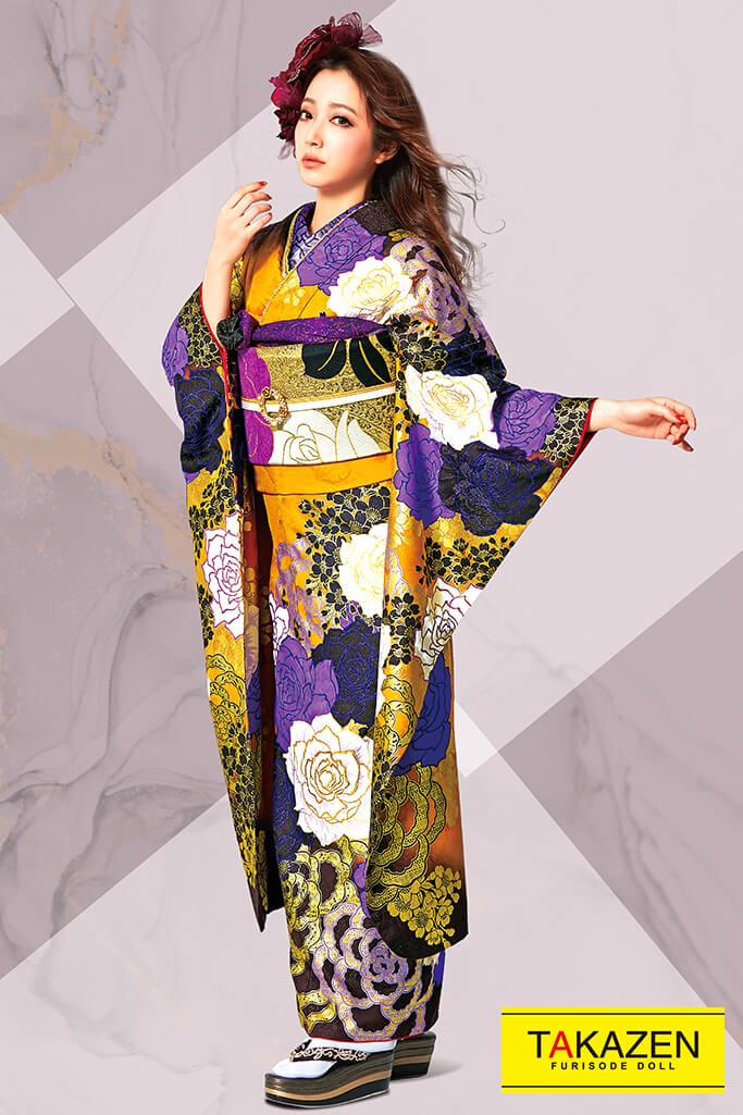 【成人式人気振袖/レンタルフルセット/通販可】MURUA派手豪華かっこいい(目立つ薔薇大柄) からし/紫/黒 31153