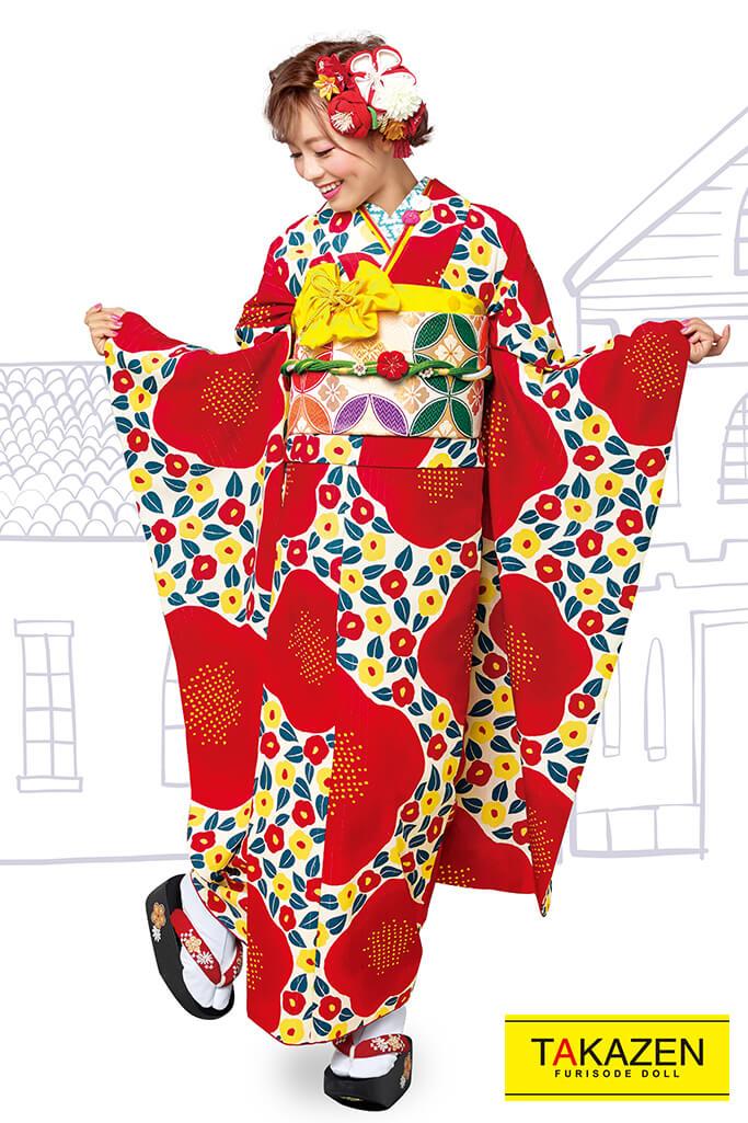 【成人式人気着物/レンタルフルセット/通販可】人気個性的レトロモダン(おしゃれ可愛いツバキ柄) 赤/白 32001