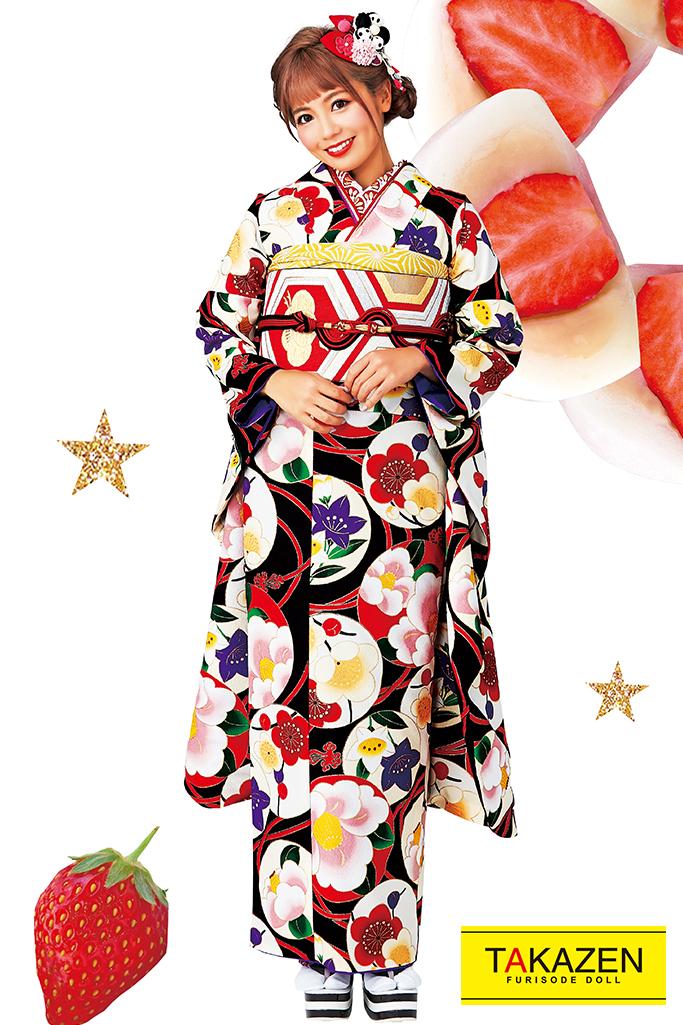 【成人式人気着物/レンタルフルセット/通販可】人気個性的レトロモダン(おしゃれアンティーク椿柄) 白/黒/赤 32008