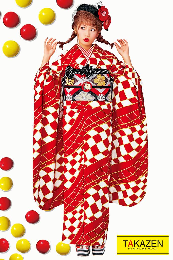 【成人式人気着物/レンタルフルセット/通販可】人気個性的レトロモダン(目立つ幾何学模様柄) 赤/白 32012