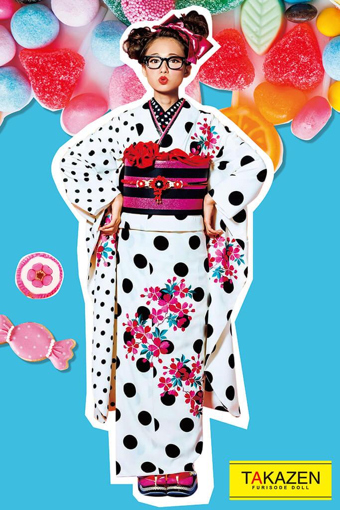 【成人式人気着物/レンタルフルセット/通販可】人気個性的レトロモダン(可愛いおしゃれドット柄) 白/ピンク 32013
