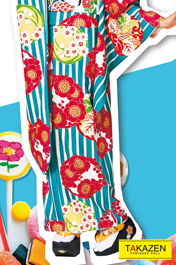 【成人式人気振袖/レンタルフルセット/通販可】人気個性的レトロモダン(おしゃれストライプ柄) 赤/ブルー(水色) 32014