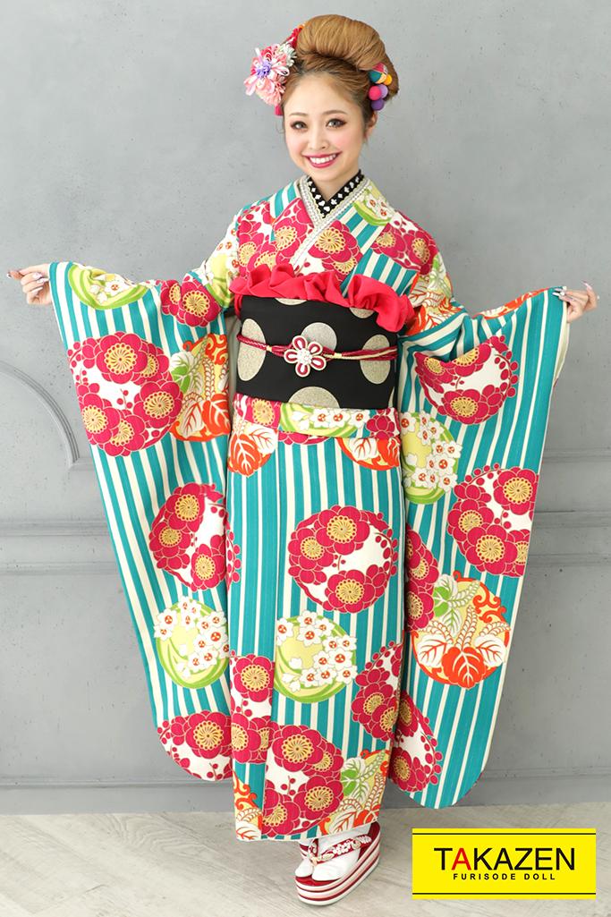 【成人式人気着物/レンタルフルセット/通販可】人気個性的レトロモダン(スタッフコーデ♡) 赤/ブルー(水色) 32014