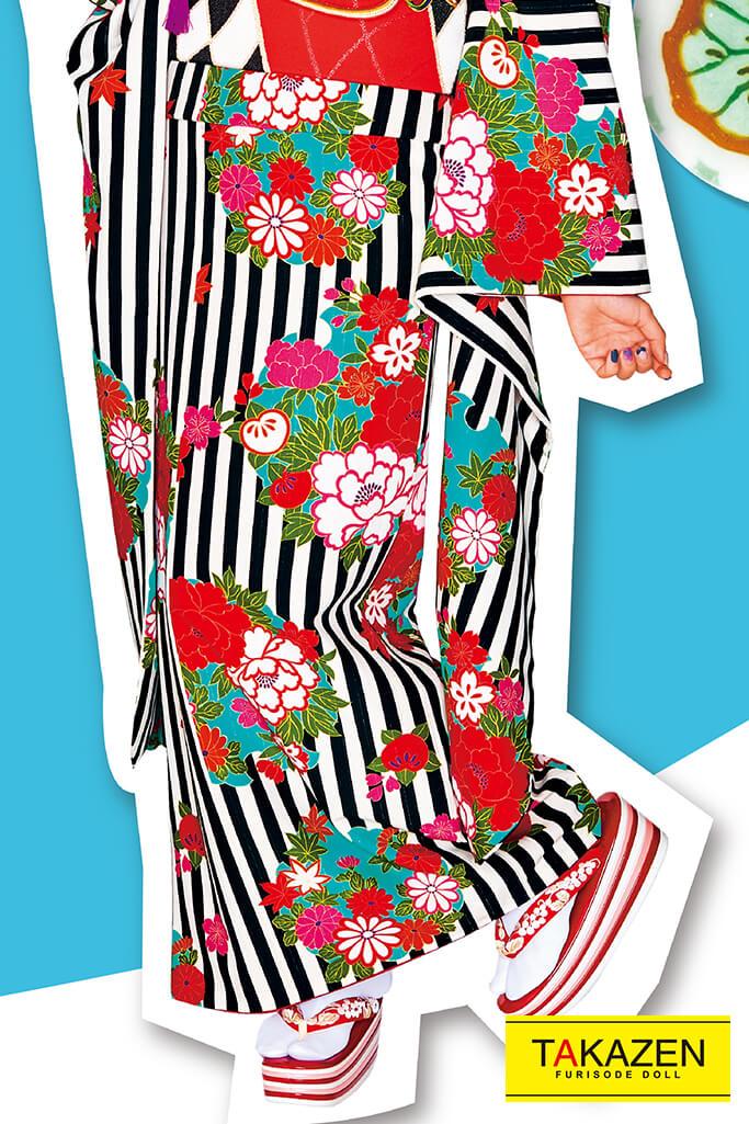 【成人式人気着物/レンタルフルセット/通販可】人気個性的レトロモダン(派手可愛いストライプ柄) 黒/白 32015