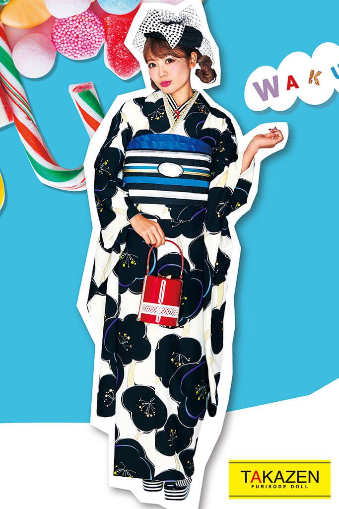 【成人式人気着物/レンタルフルセット/通販可】人気個性的レトロモダン(目立つ可愛い梅柄) 白/紺/青色 32017