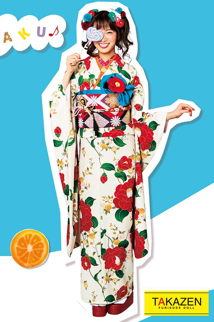 【成人式人気着物/レンタルフルセット/通販可】人気個性的レトロ可愛い(流行りツバキ柄) 白/クリーム/赤 32020