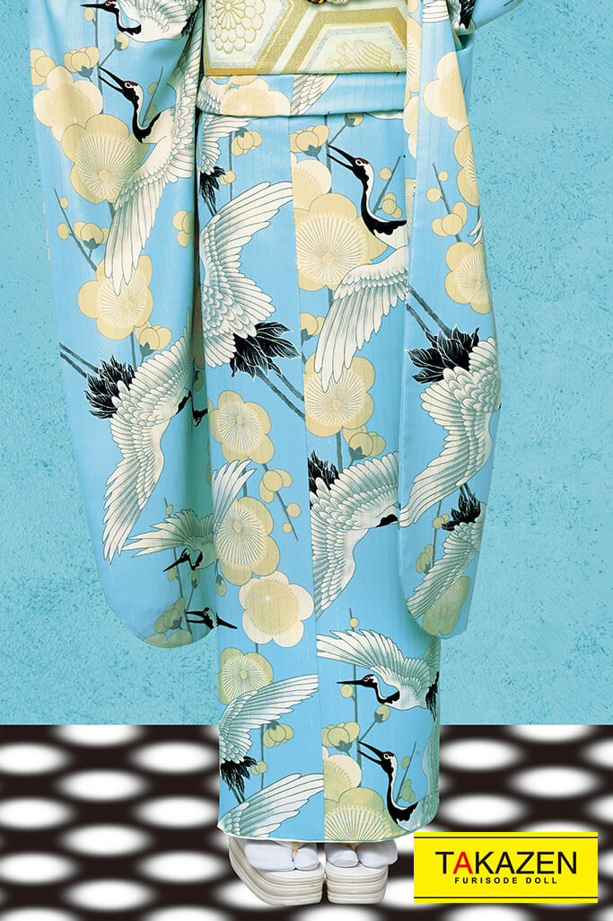 【成人式人気振袖/レンタルフルセット/通販可】人気個性的おしゃれレトロモダン(可愛い流行りの鶴柄) 白/ブルー(水色) 32025