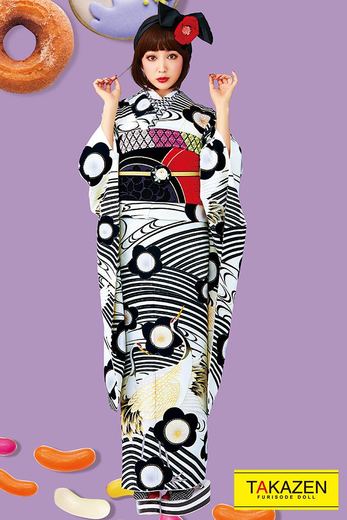 【成人式人気振袖/レンタルフルセット/通販可】人気個性的レトロ(モダン風流行りの鶴柄) 白/クリーム/黒 32027