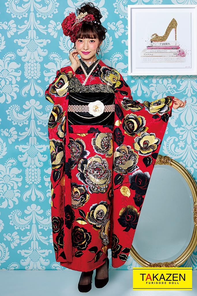【成人式人気振袖/レンタルフルセット/通販可】最高級プレミアムヘップバーン(おしゃれ1番目立つ) 赤/黒 ☆32028