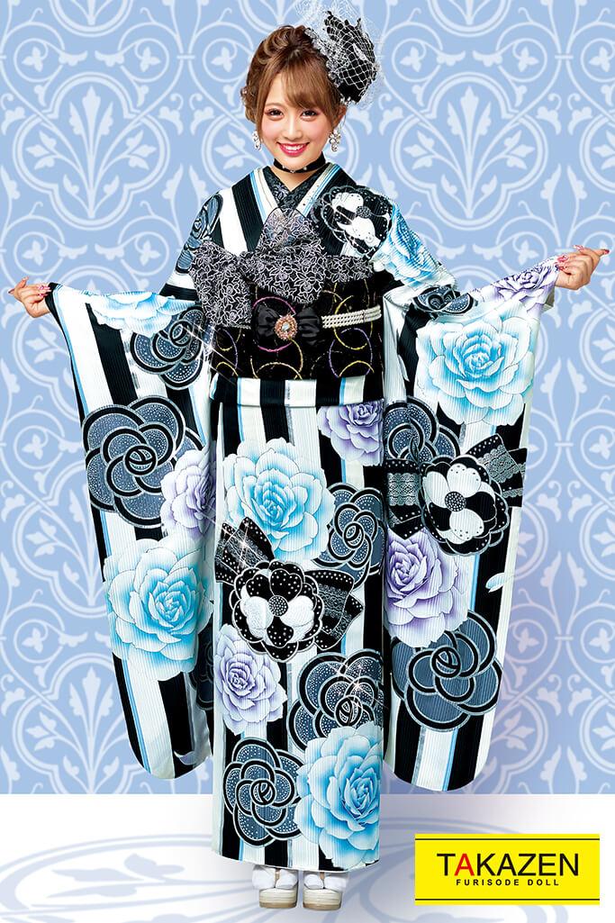 【成人式人気振袖/レンタルフルセット/通販可】おしゃれヘップバーン(可愛い目立つカメリアストライプ) 白/黒/ブルー(水色) 32031