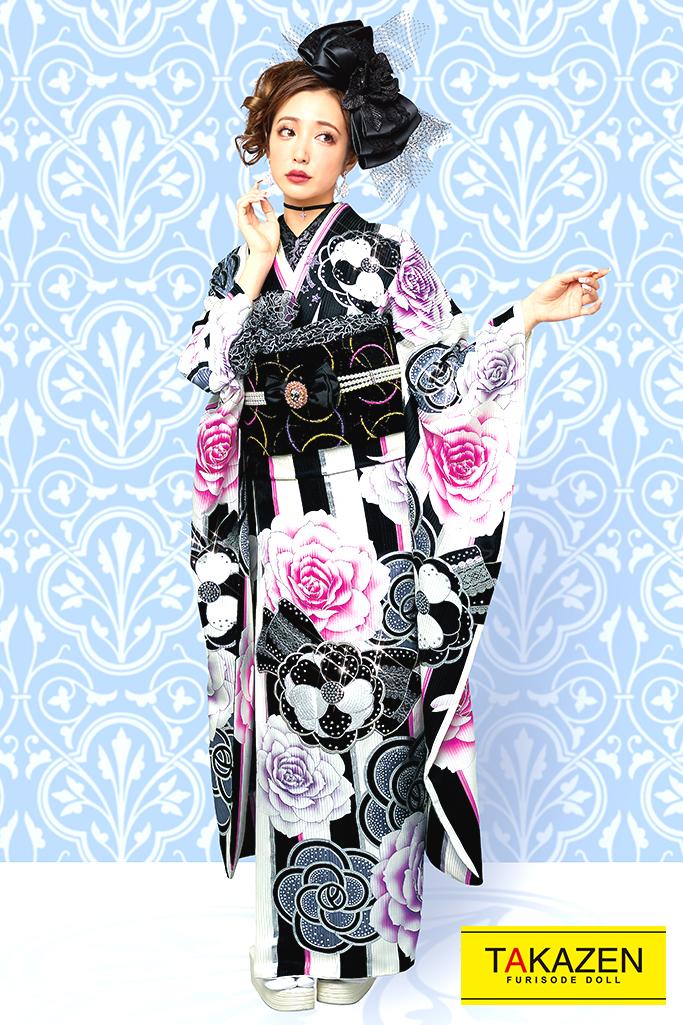 【成人式人気着物/レンタルフルセット/通販可】おしゃれ可愛いヘップバーン(目立つカメリアストライプ) 白/黒/ピンク 32032