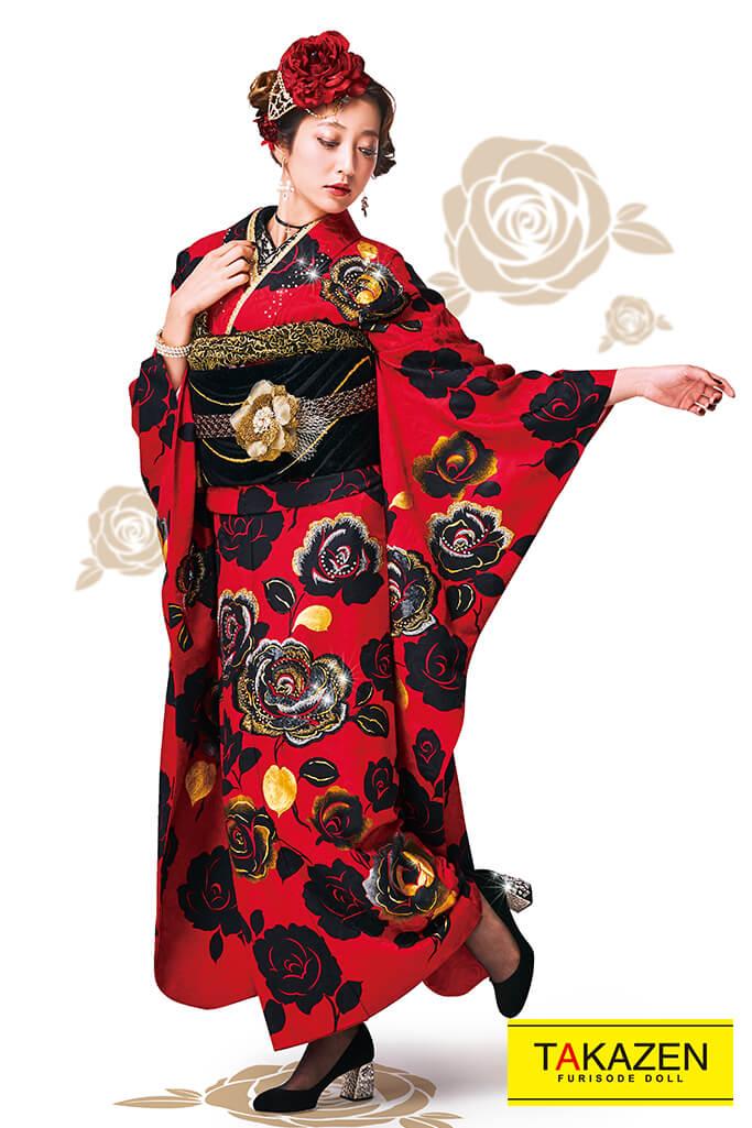 【成人式人気着物/レンタルフルセット/通販可】おしゃれ目立つヘップバーン(キラキラバラ柄) 赤/黒 32035