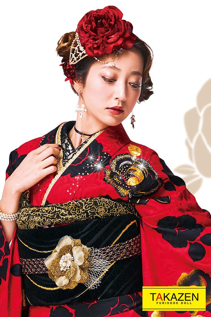 【成人式人気着物/レンタルフルセット/通販可】おしゃれ目立つヘップバーン(キラキラ派手可愛い) 赤/黒 32035