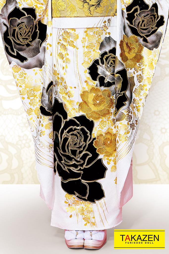 【成人式人気振袖/レンタルフルセット/通販可】派手かっこいイヘップバーン(1番目立つおしゃれ) 白/黒/ゴールド(金色) 32036