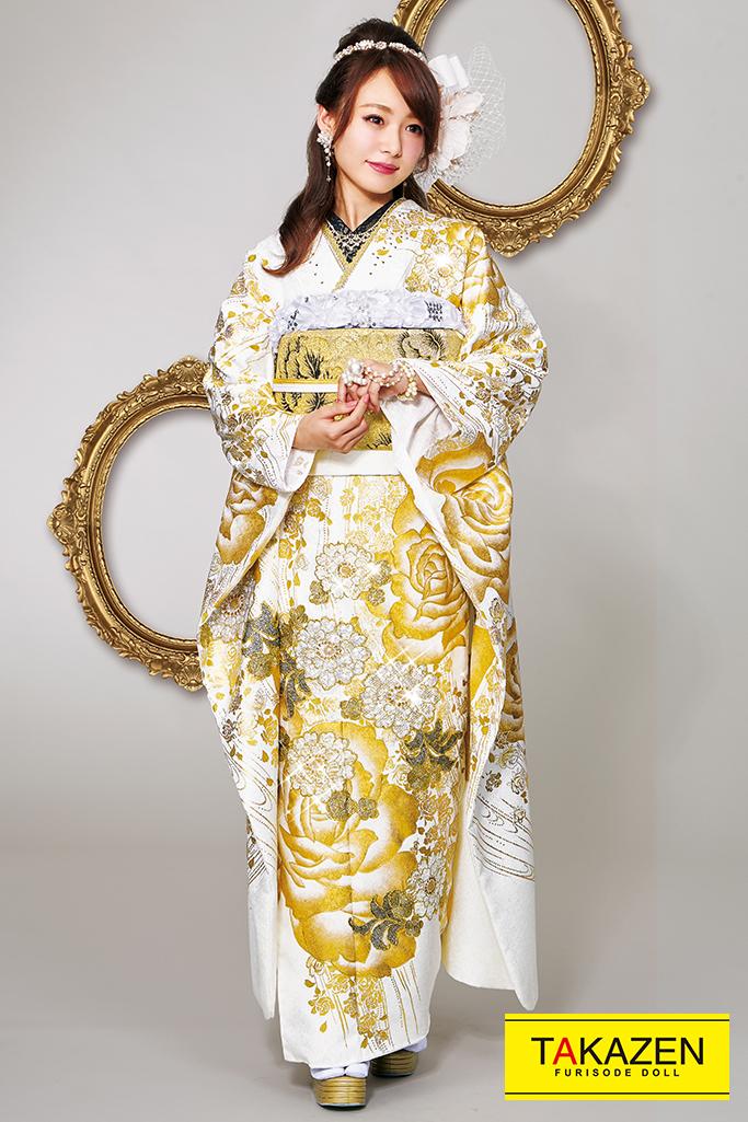 【成人式人気着物/レンタルフルセット/通販可】オシャレヘップバーン(派手大人綺麗) 白/ゴールド(金色) 32037