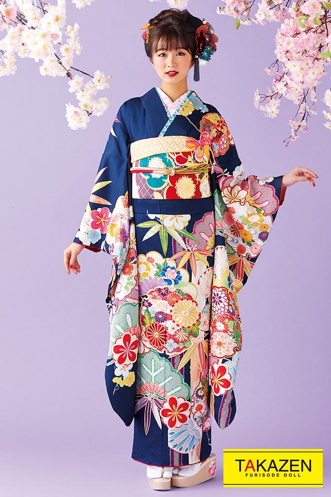【成人式人気振袖/レンタルフルセット/通販可】上品かわいい高級古典(大人っぽい刺繍) 紺/赤 32038