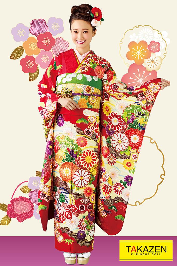 【成人式人気着物/レンタルフルセット/通販可】上品綺麗古典(古風可愛い豪華) 赤/グリーン(緑色) 32039