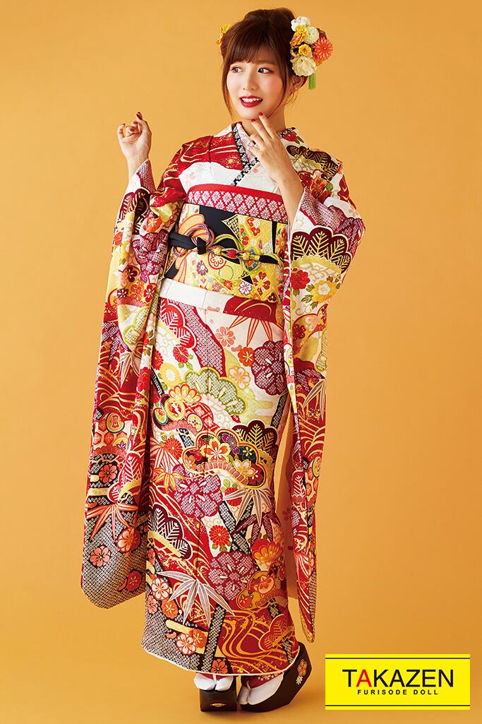 【成人式人気振袖/レンタルフルセット/通販可】上品きれい絞り風古典(大人可愛い大柄) 白/赤 32041