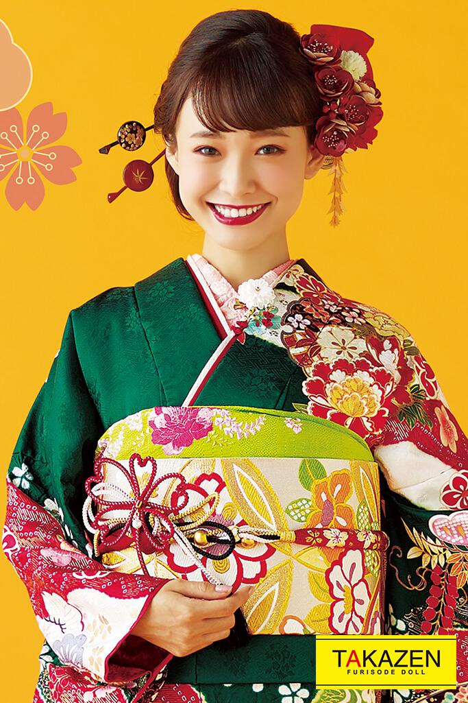 【成人式人気着物/レンタルフルセット/通販可】上品かわいい古典(大人っぽい古風柄) 赤/グリーン(緑色) 32043