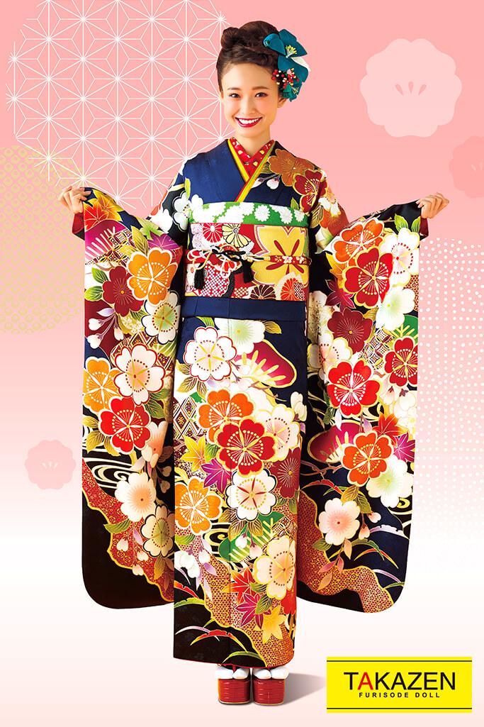【成人式人気着物/レンタルフルセット/通販可】上品古典(可愛い古風で豪華) 紺/赤/オレンジ 32045