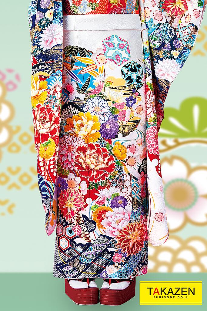 【成人式人気振袖/レンタルフルセット/通販可】上品かわいい古典(おしとやか綺麗系) 白/紺/赤 32047