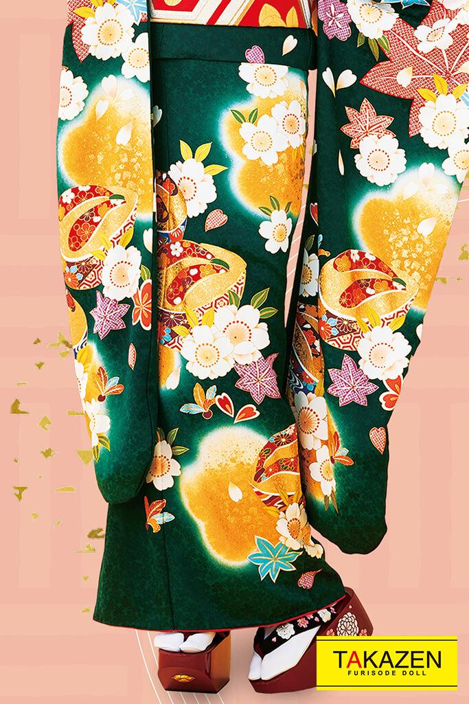 【成人式人気着物/レンタルフルセット/通販可】人と被らない上品古典(古風大人可愛い豪華) からし/グリーン(緑色) 32050