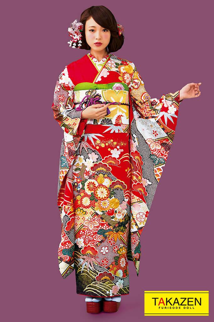 【成人式人気着物/レンタルフルセット/通販可】定番上品古典(大人かわいい) 赤/黒/ゴールド(金色) 32052