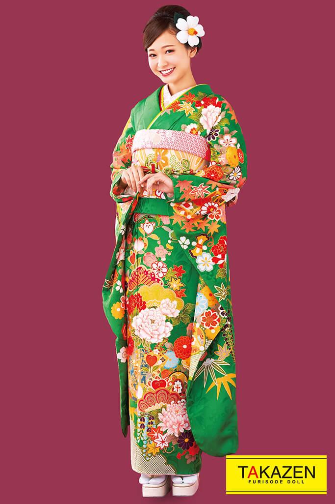 【成人式人気着物/レンタルフルセット/通販可】上品古典(古可愛い風豪華) 赤/グリーン(黄緑色) 32053
