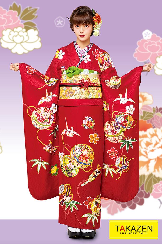 【成人式人気着物/レンタルフルセット/通販可】上品古典(モダン風かわいい豪華) 赤/ゴールド(金色) 32055