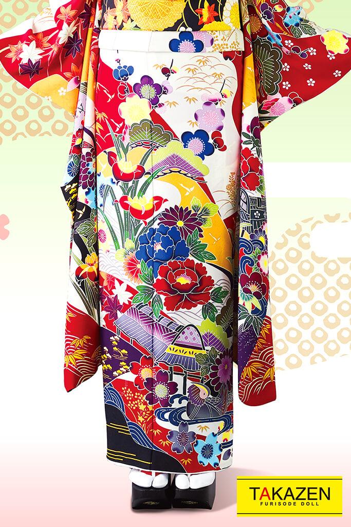 【成人式人気着物/レンタルフルセット/通販可】上品綺麗古典(高級古風かわいい豪華) 白/赤/からし 32056